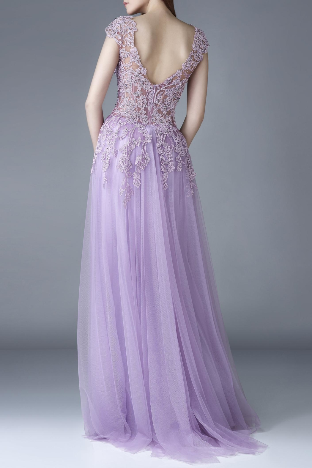Gemy Maalouf Cap Sleeve Gown - Front Full Image