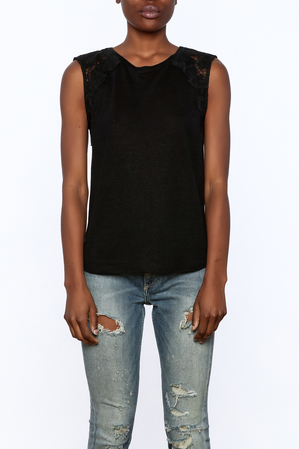 Generation Love  Black Butterfly Tank Top - Side Cropped Image