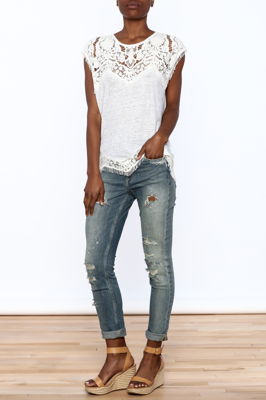 Generation Love  White Scalloped Lace Top - Front Full Image