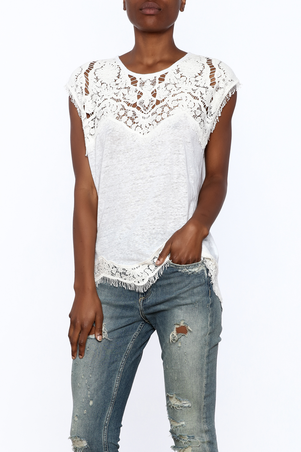 Generation Love  White Scalloped Lace Top - Front Cropped Image