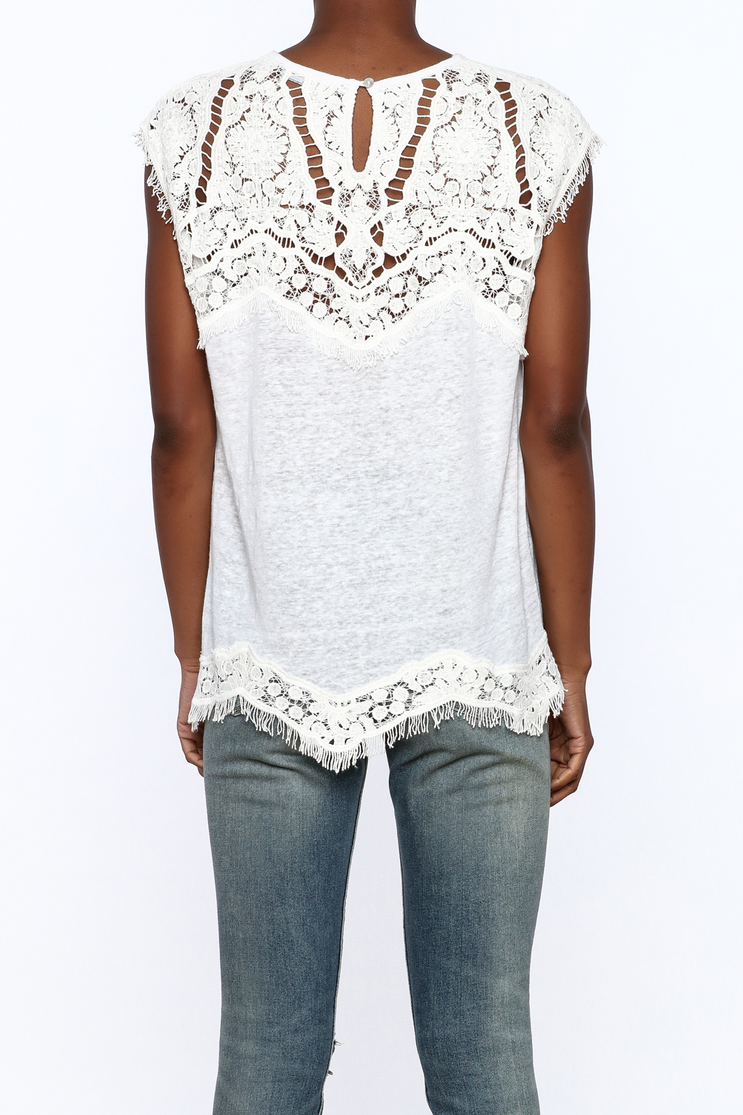 Generation Love  White Scalloped Lace Top - Back Cropped Image
