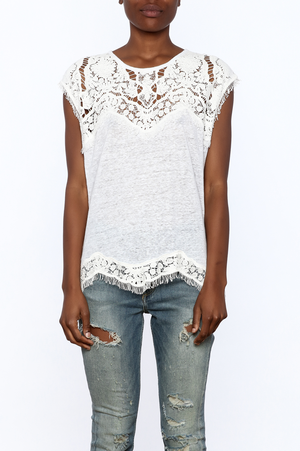 Generation Love  White Scalloped Lace Top - Side Cropped Image