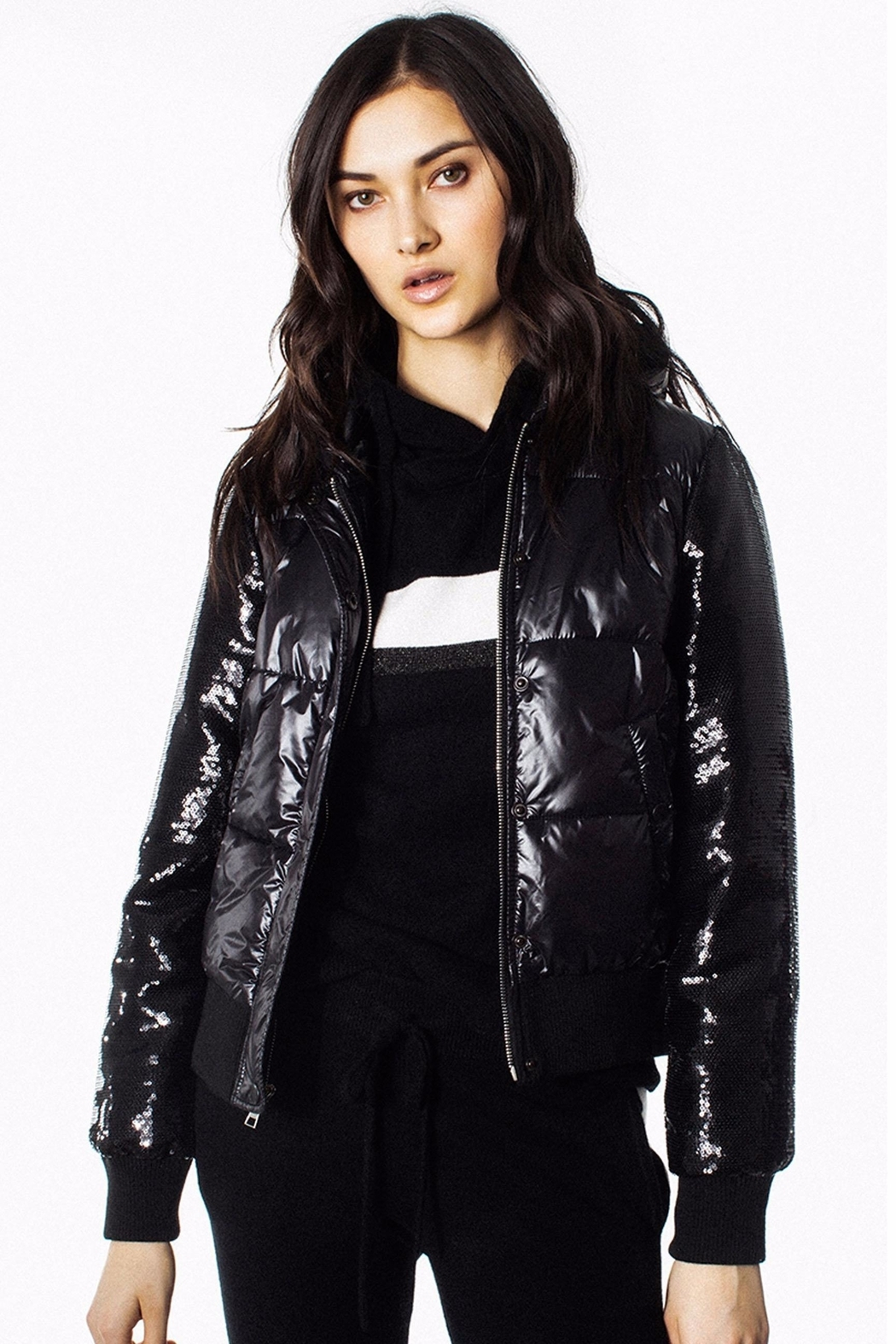 Generation Love  Drexler Sequined-Sleeve Puffer - Main Image
