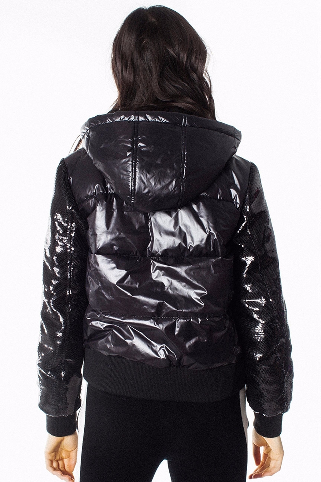 Generation Love  Drexler Sequined-Sleeve Puffer - Side Cropped Image