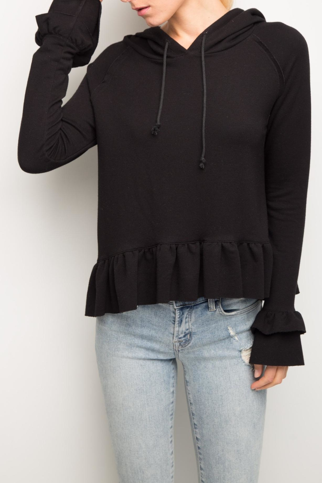 Generation Love  Easton Ruffle Hoodie - Front Cropped Image