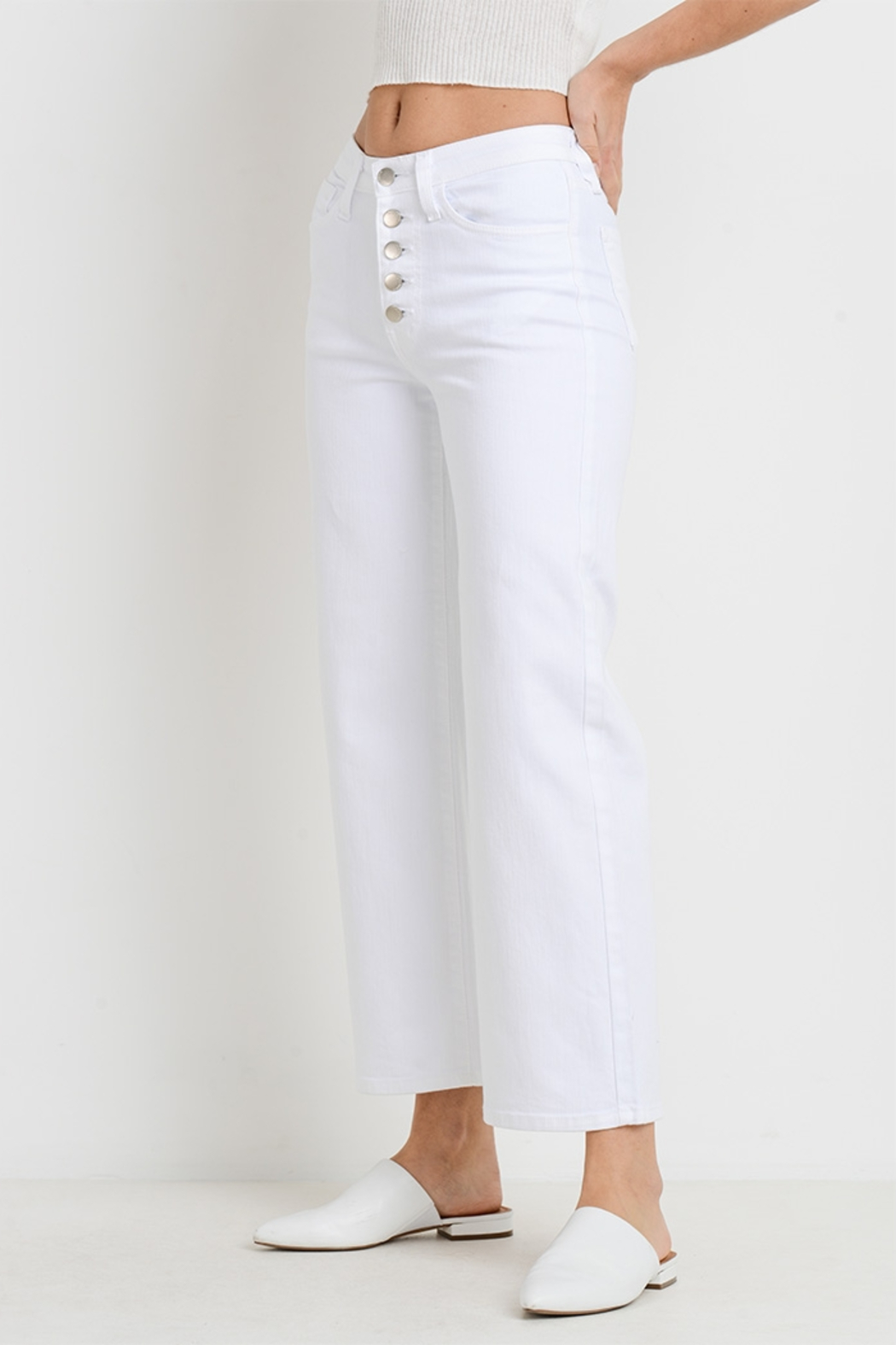 L.T.J Genoa Button Fly Wide Leg Jeans - Front Full Image