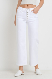 Letters to Juliet Genoa Button Wide Leg Jeans - Front cropped