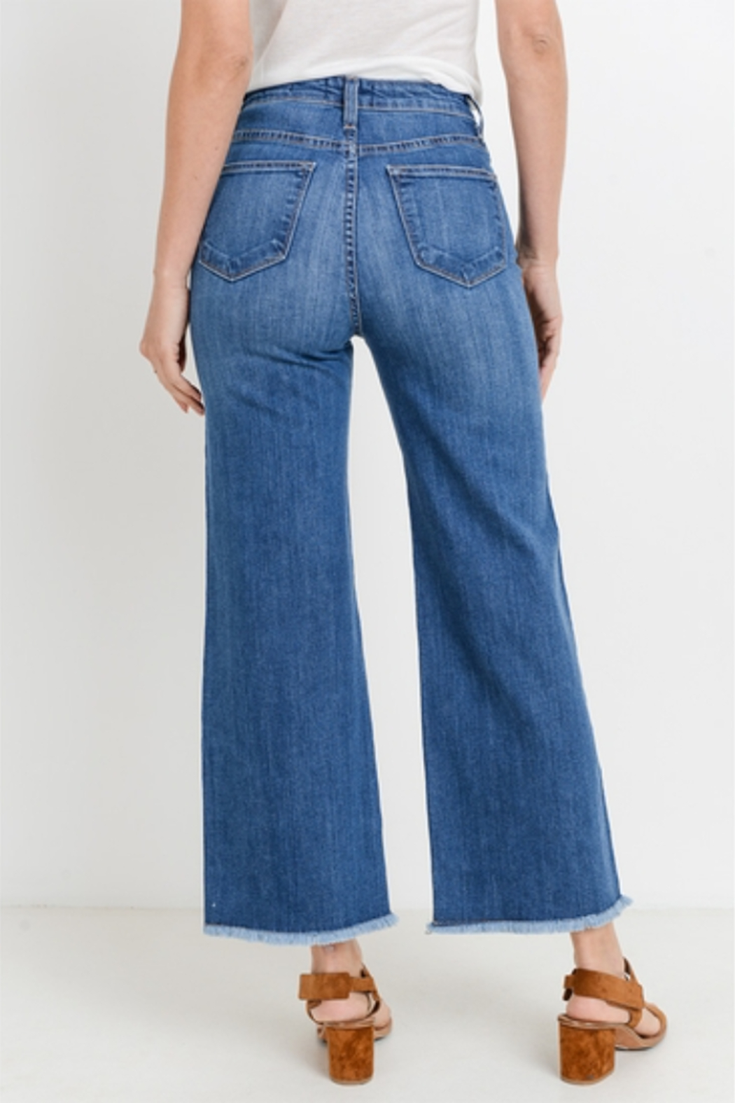L.T.J Genoa Frayed Wide Leg Jeans - Side Cropped Image