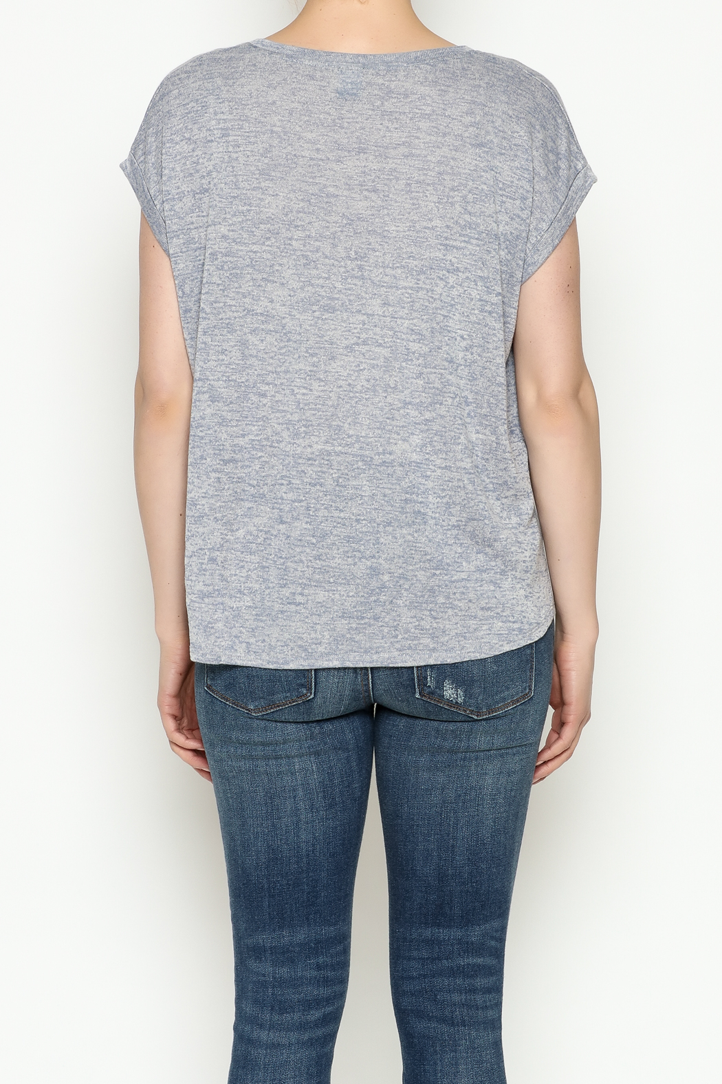 Gentle Fawn Boyfriend V Neck Tee - Back Cropped Image