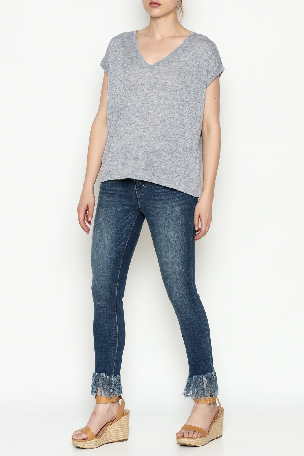 Gentle Fawn Boyfriend V Neck Tee - Side Cropped Image