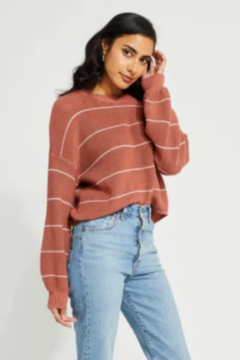 Gentle Fawn Healey Pullover Sweater - Muted Clay Stripe - Alternate List Image