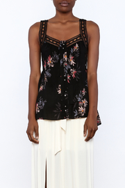 Gentle Fawn Black Floral Sleeveless Blouse - Side cropped