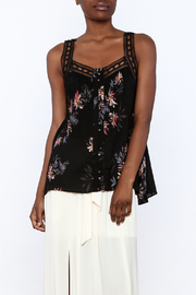 Gentle Fawn Black Floral Sleeveless Blouse - Front cropped