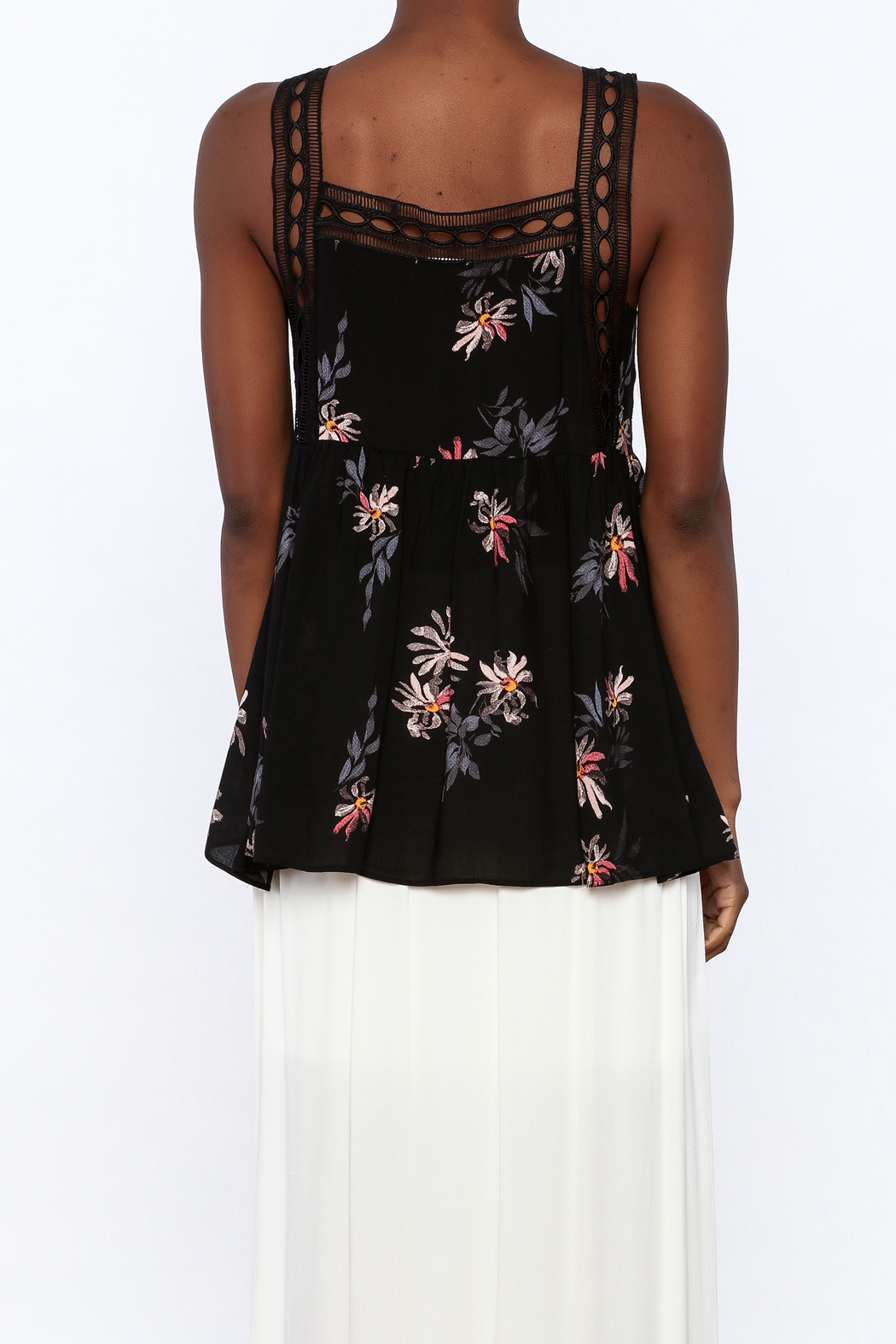 Gentle Fawn Black Floral Sleeveless Blouse - Back Cropped Image