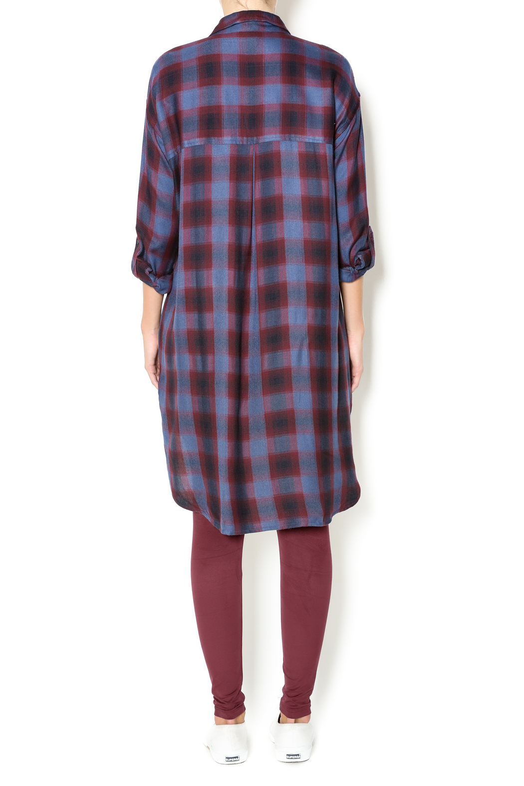 Gentle Fawn Plaid Shirt Dress - Side Cropped Image