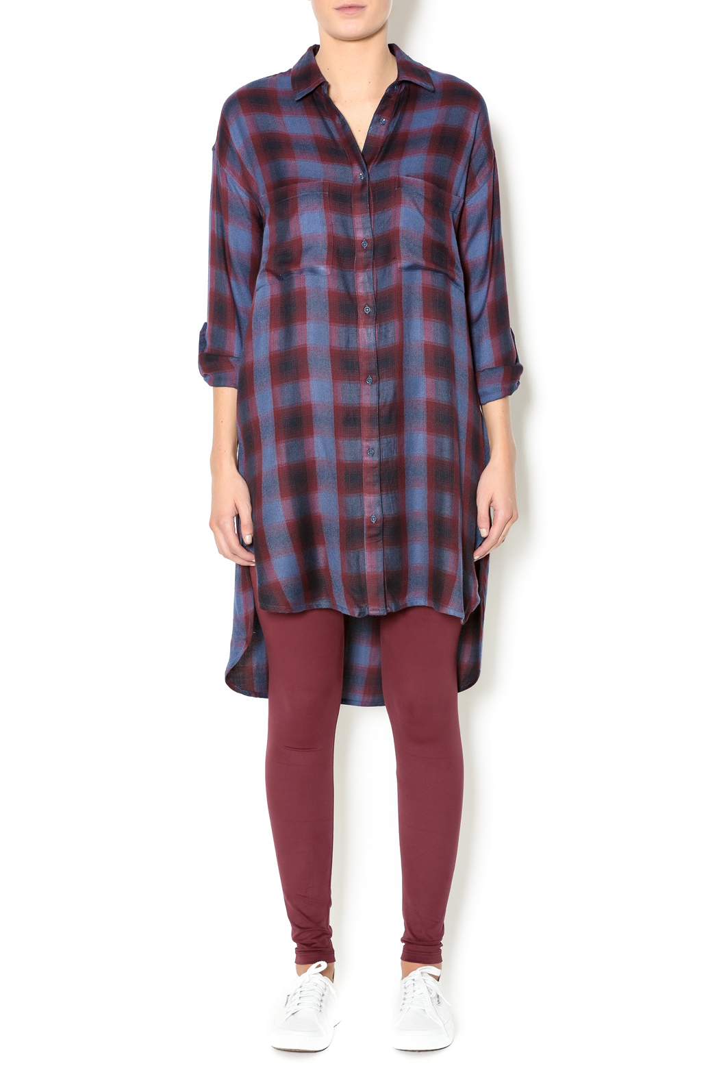 Gentle Fawn Plaid Shirt Dress - Front Full Image