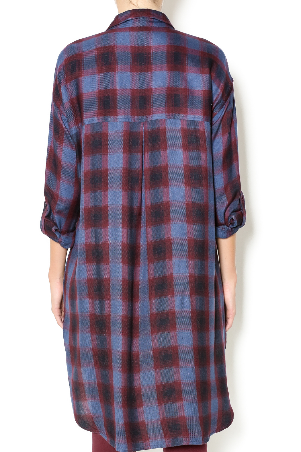 Gentle Fawn Plaid Shirt Dress - Back Cropped Image