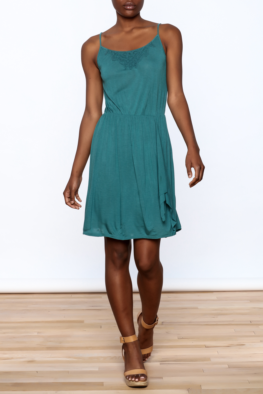 Gentle Fawn Teal Sleeveless Dress - Front Full Image