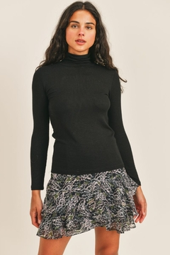Shoptiques Product: Gentle Wind Mock Neck Ribbed Sweater