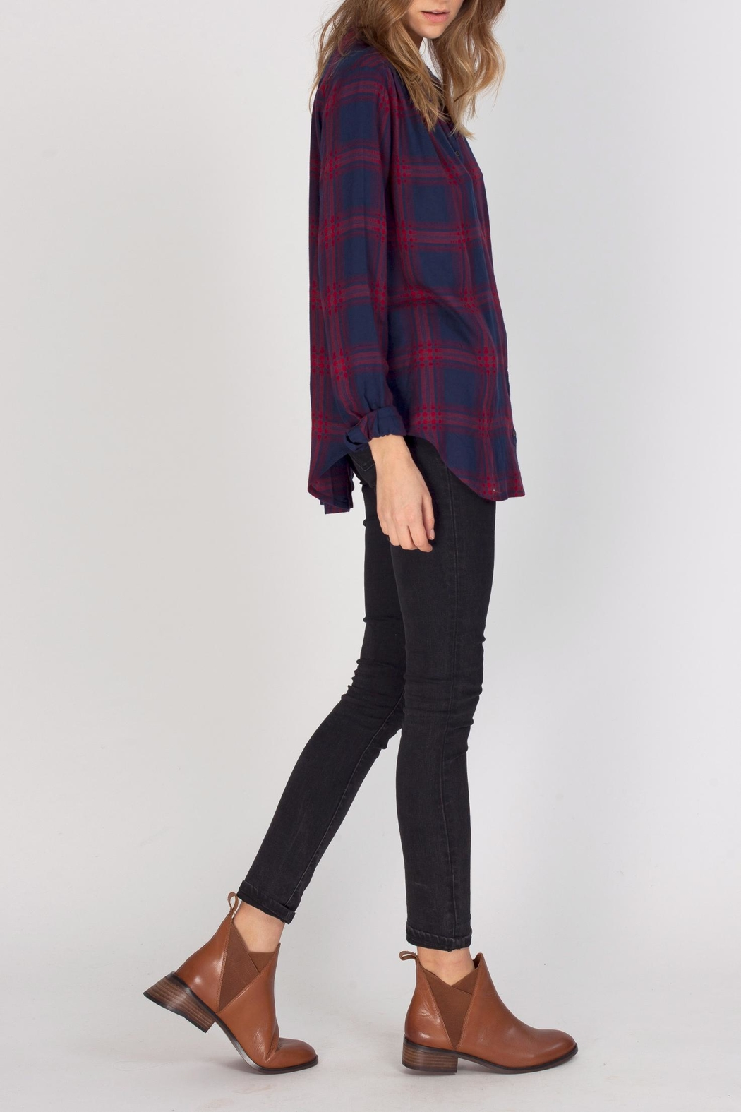Gentle Fawn Alpha Plaid Top - Front Full Image