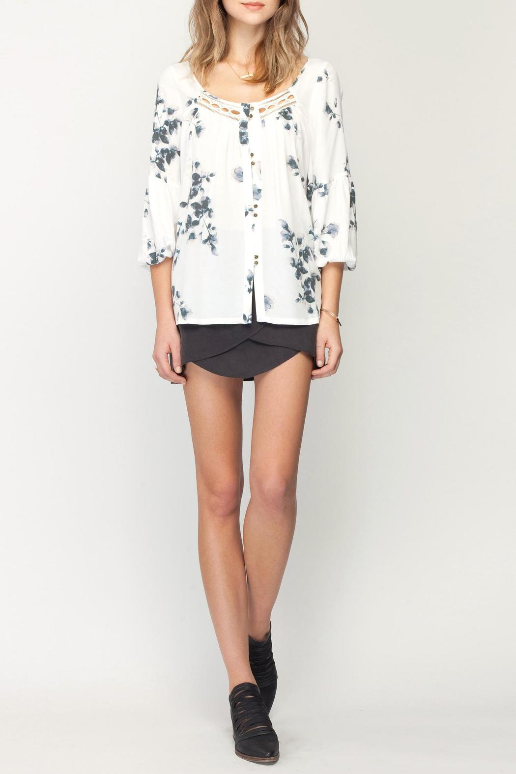 Gentle Fawn Botanical Print Top - Front Full Image