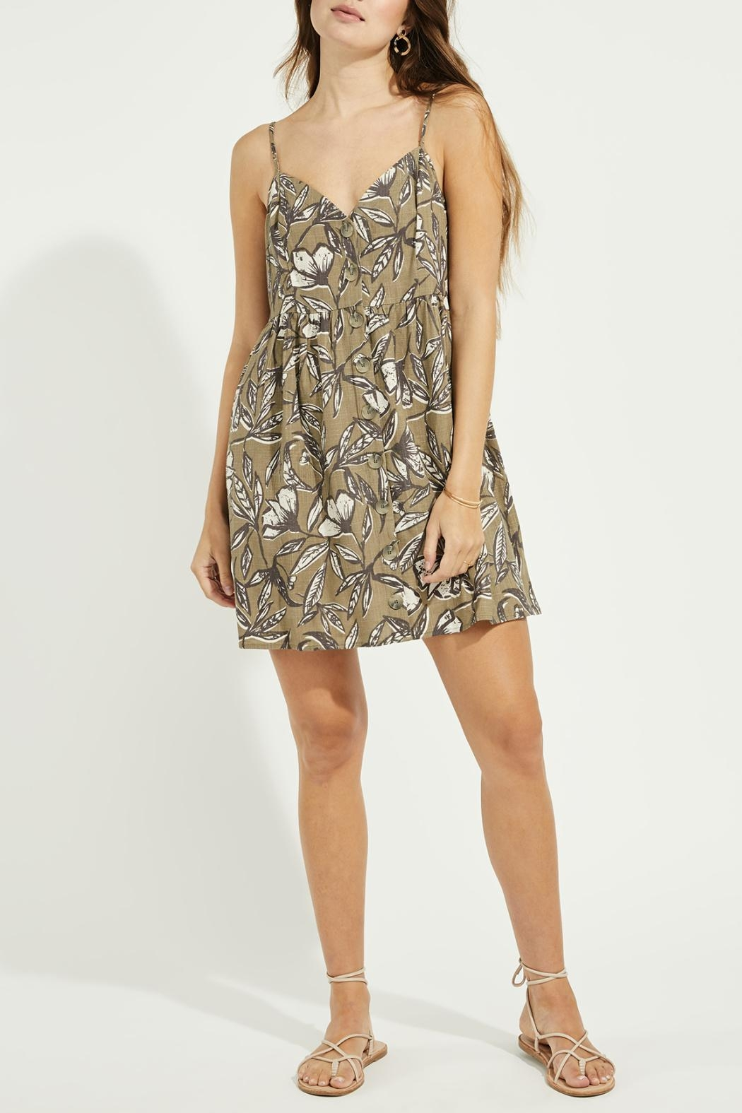 Gentle Fawn Button Front Linen Blend Dress - Front Full Image