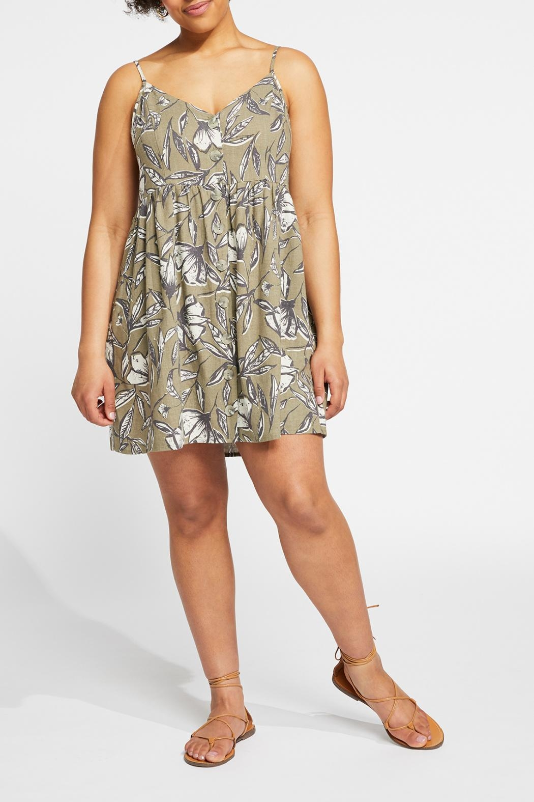 Gentle Fawn Button Front Linen Blend Dress - Back Cropped Image