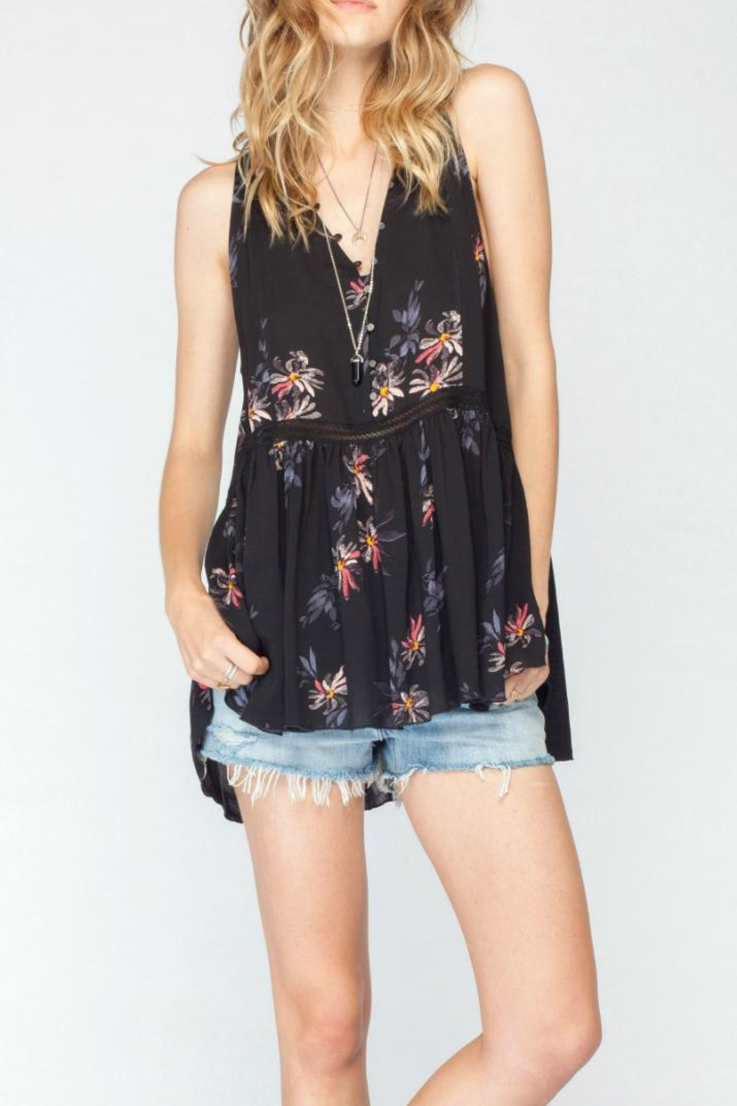 Gentle Fawn Floral Tunic Tank - Front Cropped Image