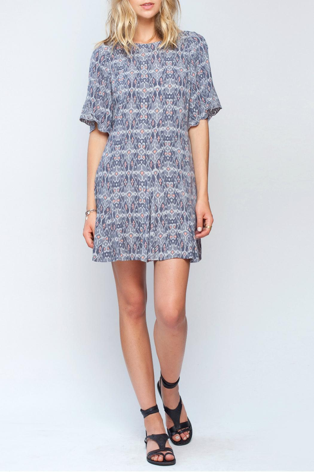 Gentle Fawn Ikat Print Dress - Front Full Image