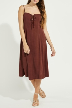 Gentle Fawn Lace Up Linen Mix Dress - Product List Image