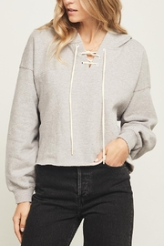 Gentle Fawn Lace-Up Neckline Hoodie - Product Mini Image