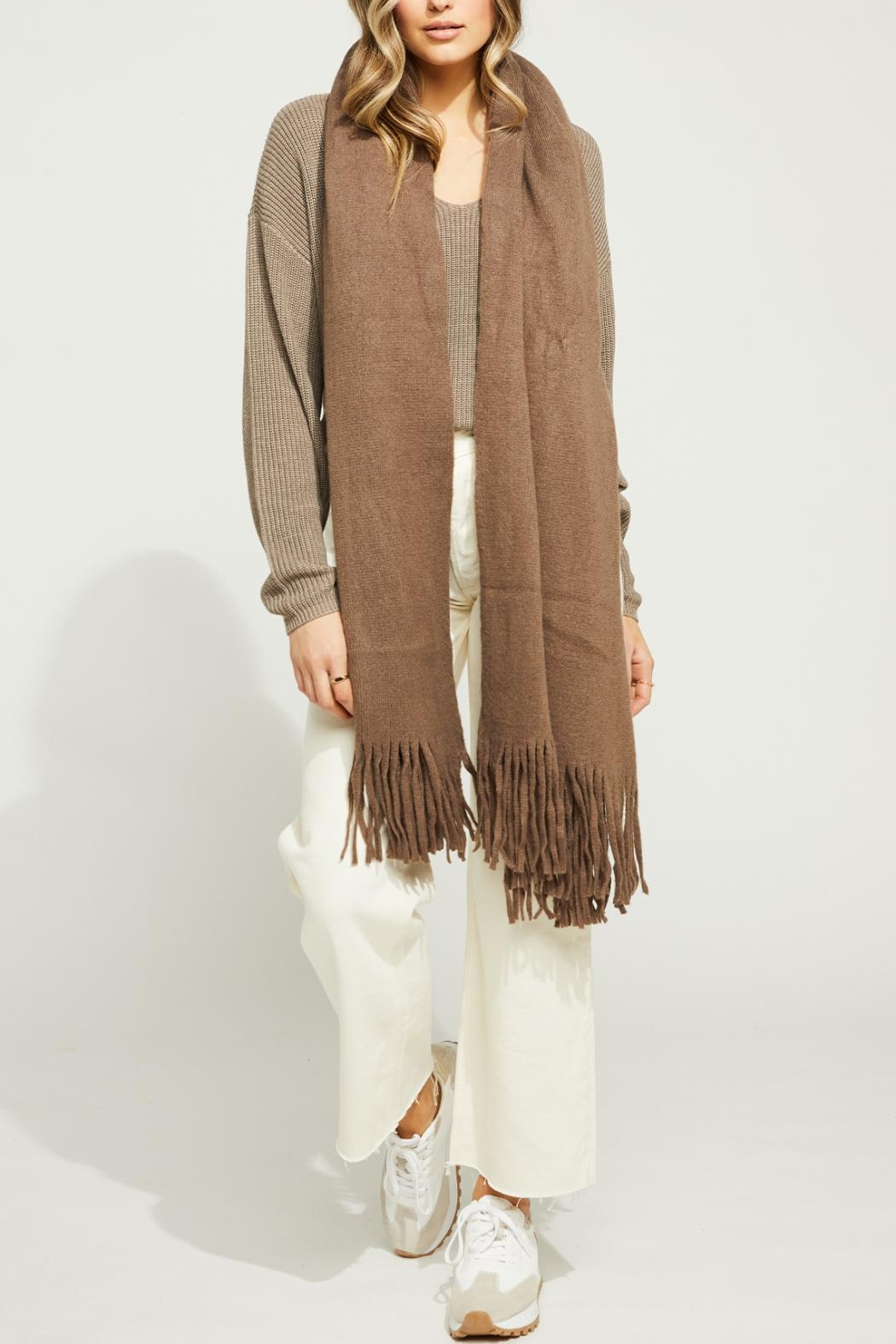 Gentle Fawn Long Fringe Scarf - Front Full Image