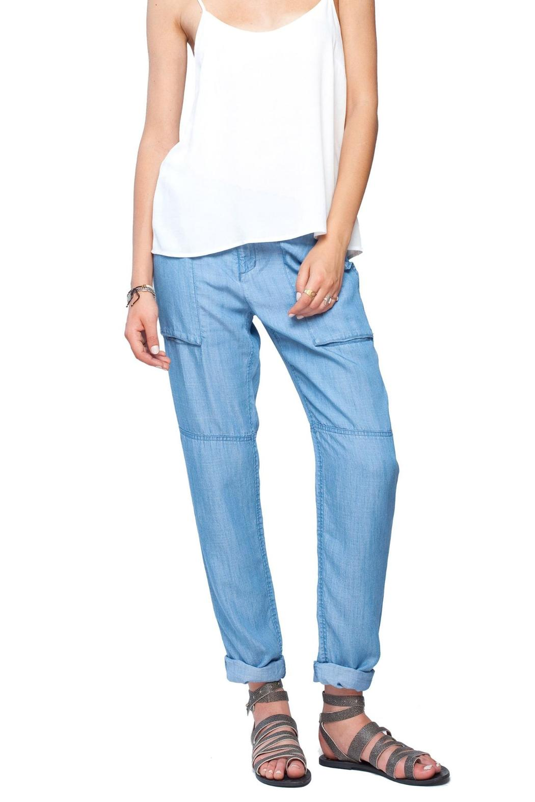 Chambray Linen Pants: Timeless trouser styling in a light and easy cotton/linen blend. Modern Rise; Sits below the waist Embellished Denim Jacket Item