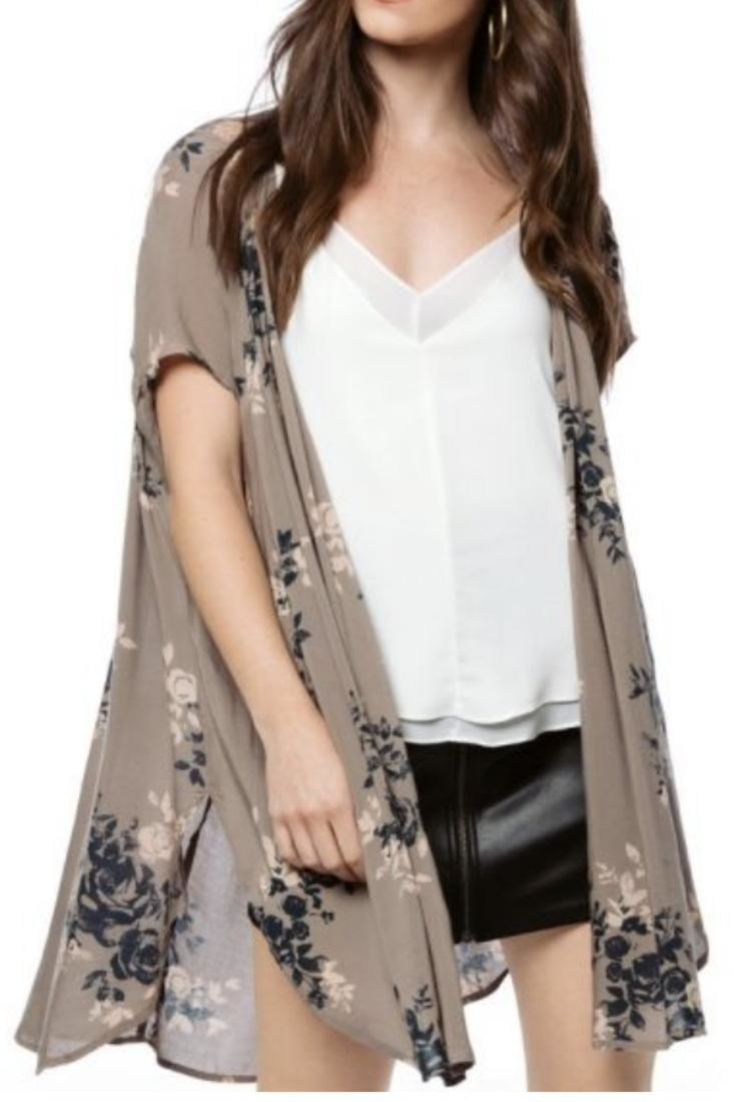 Gentle Fawn Taupe Floral Kimono - Main Image