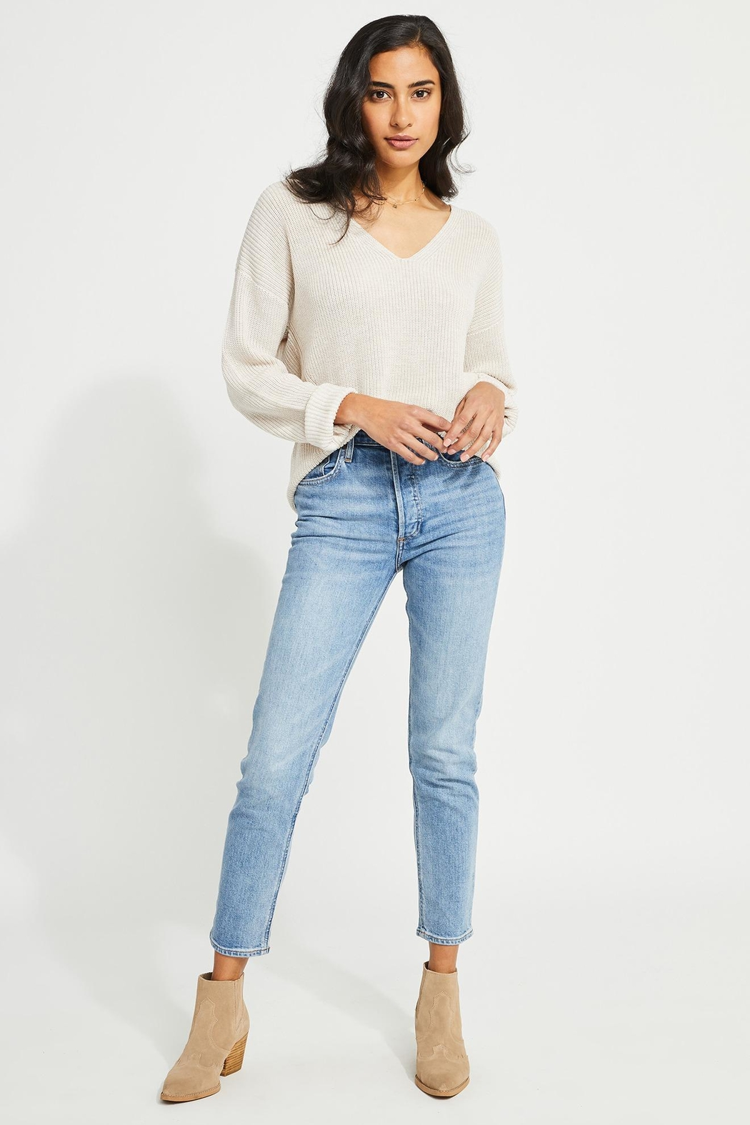 Gentle Fawn Tucker V Neck Sweater - Front Cropped Image