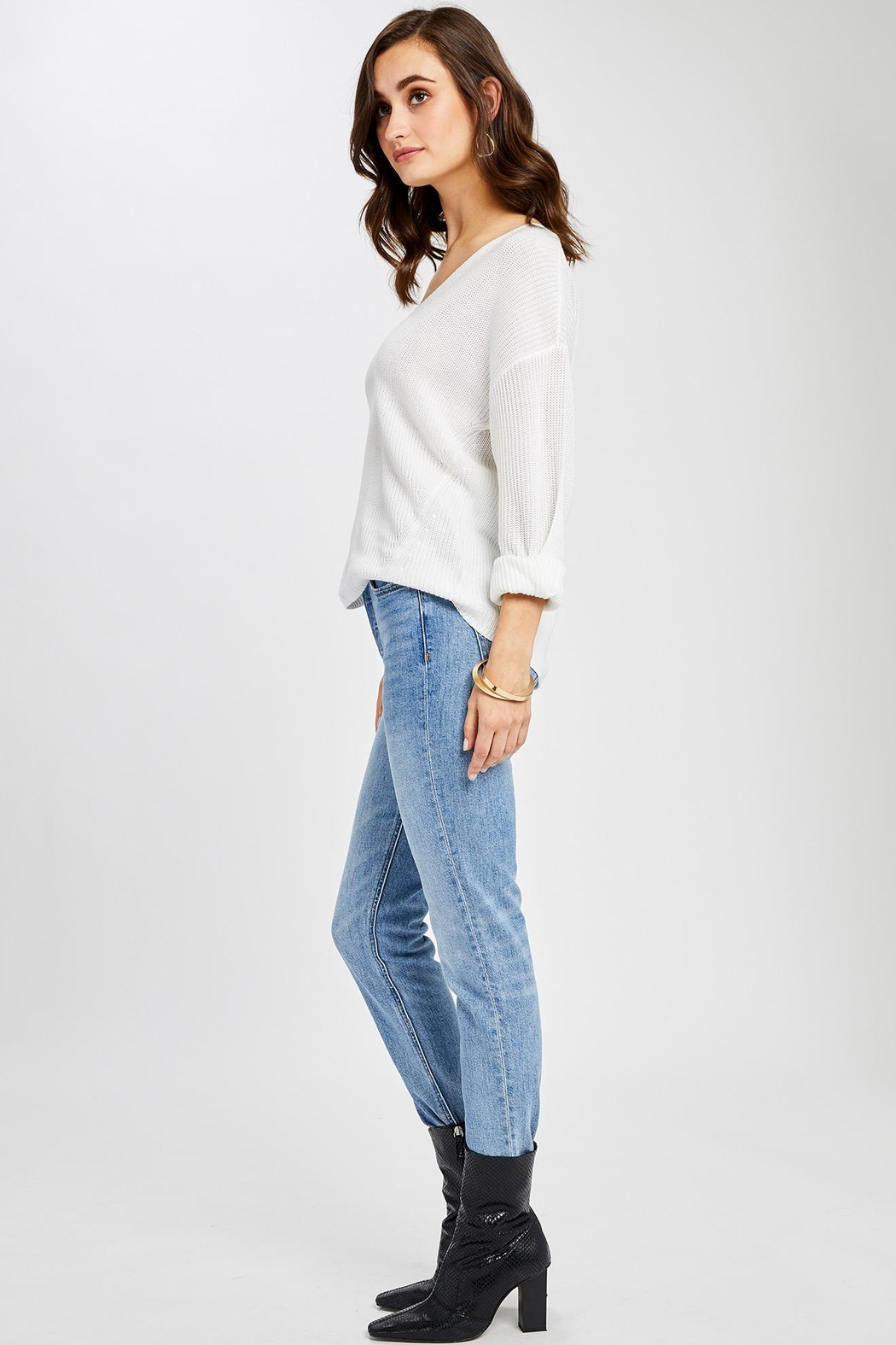 Gentle Fawn Tucker V Neck Sweater - Front Full Image