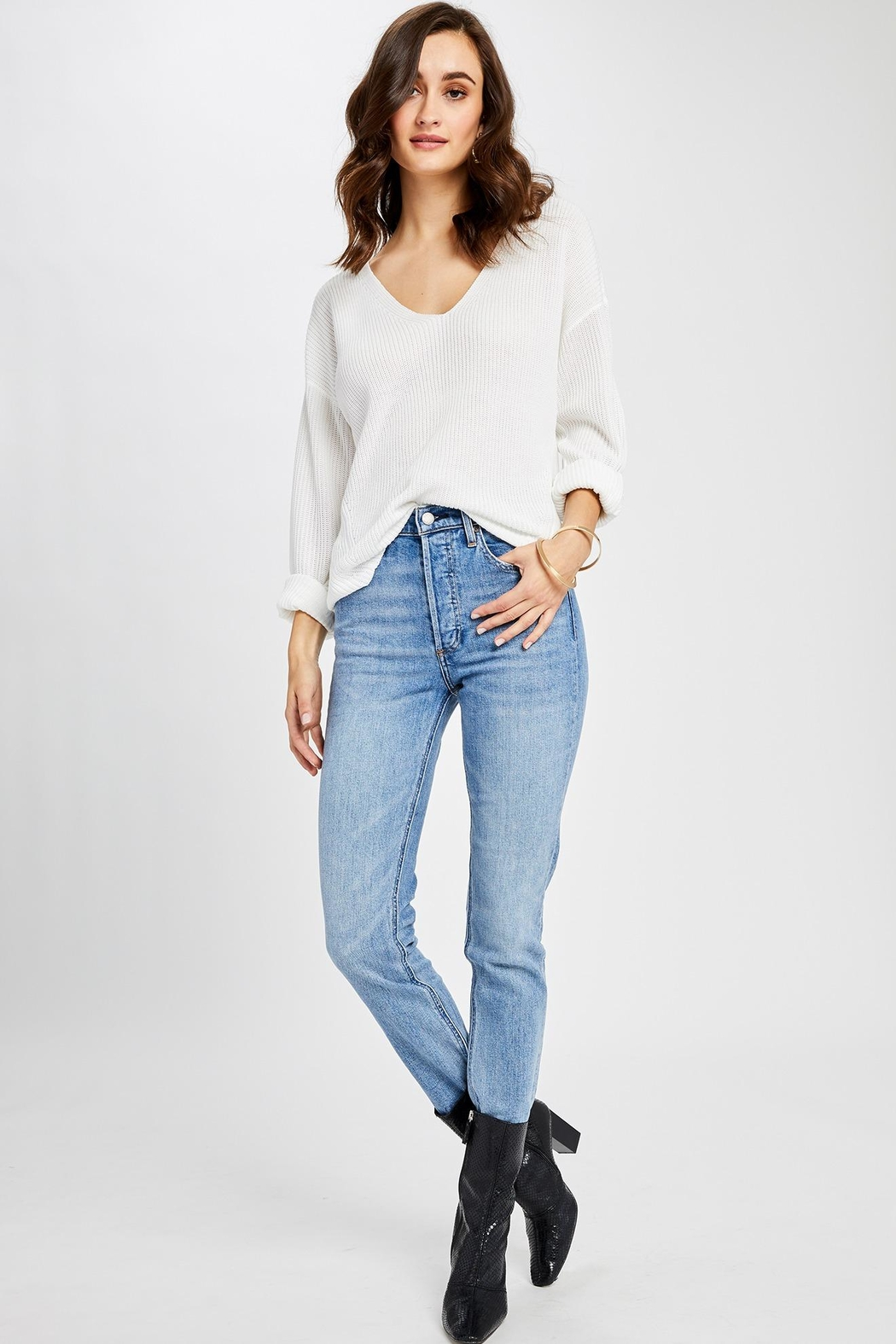 Gentle Fawn Tucker V Neck Sweater - Main Image