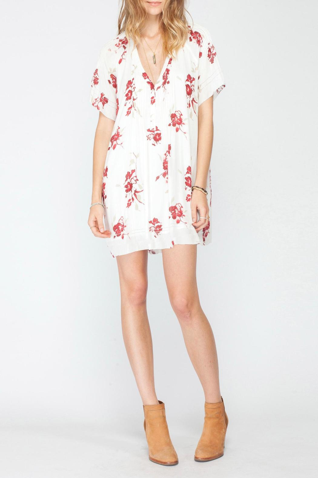 Gentle Fawn V Neck Pleat Dress - Front Full Image