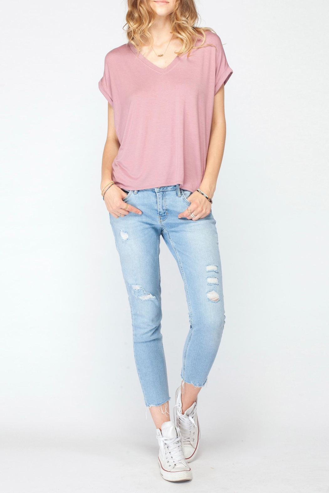 Gentle Fawn Soft Pink Basic Tee - Front Full Image