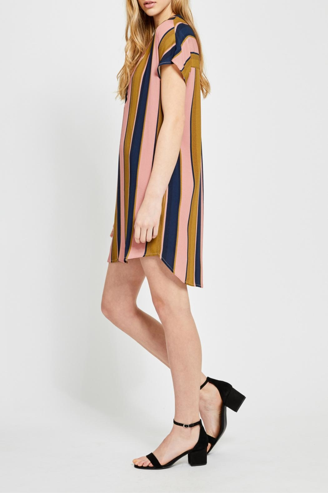 Gentle Fawn Wide Stripe Shirtdress - Front Full Image