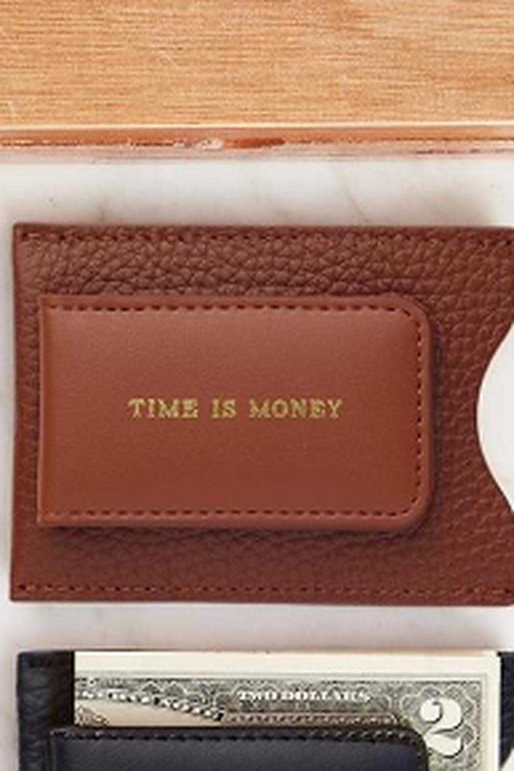 The Birds Nest GENUINE LEATHER MONEY CLIP/CARD CASE - Front Cropped Image
