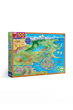 Eeboo Geographical Terms 100 Piece Puzzle - Alternate List Image
