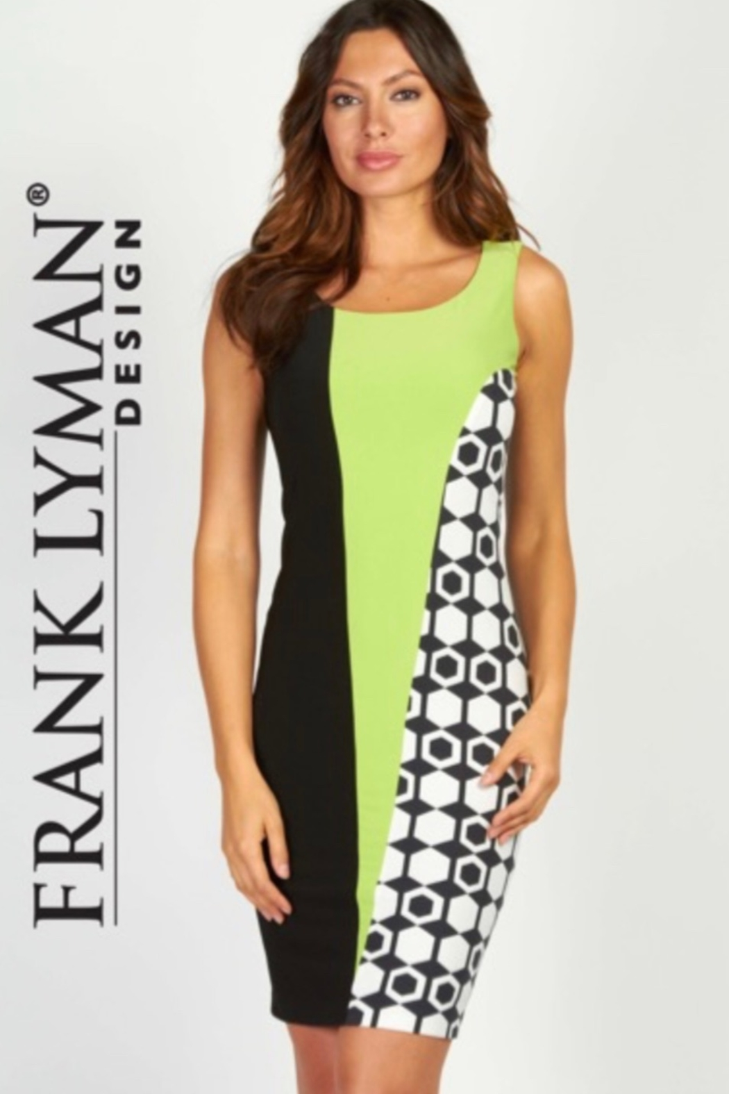 Frank Lyman Geometric Black, white and green sheath dress - Front Cropped Image