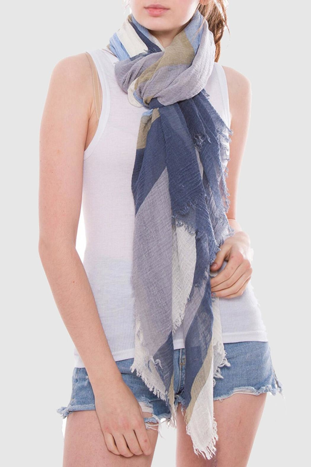 Wild Lilies Jewelry  Geometric Blue Scarf - Front Full Image