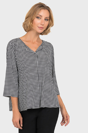 Joseph Ribkoff  Geometric Button Back Top, Black/White - Product Mini Image