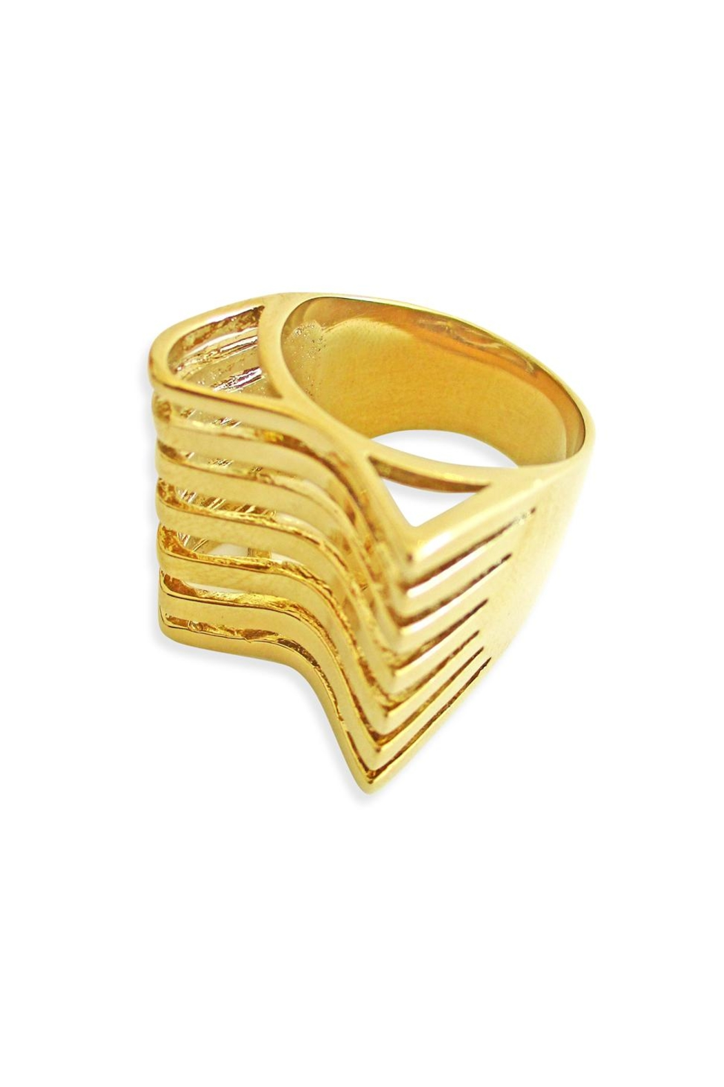 Malia Jewelry Geometric Goldplated Ring - Front Full Image