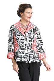 IC Collection GEOMETRIC-PRINT HIGH-LOW JACKET - 2327J - Front cropped