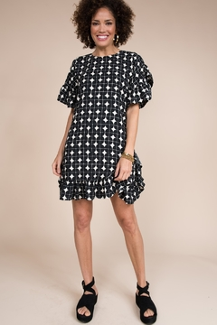 Ivy Jane  Geometric Short Sleeve Ruffle Dress - Alternate List Image