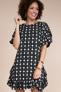 Ivy Jane  Geometric Short Sleeve Ruffle Dress - Product List Image