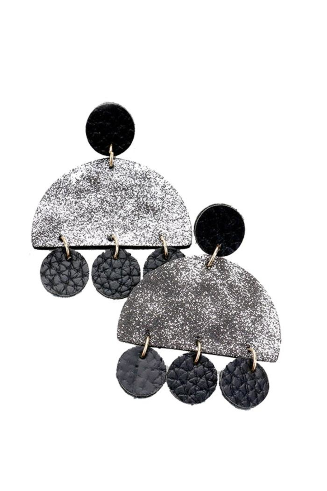 Lets Accessorize Geometric Texture Earrings - Front Cropped Image